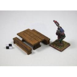 Table miniature avec ses 2 bancs