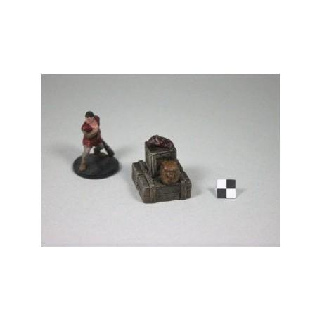 STUFF4GAMES-Pion objectif 2 caisses longues+1 caisse cube avec sac à dos