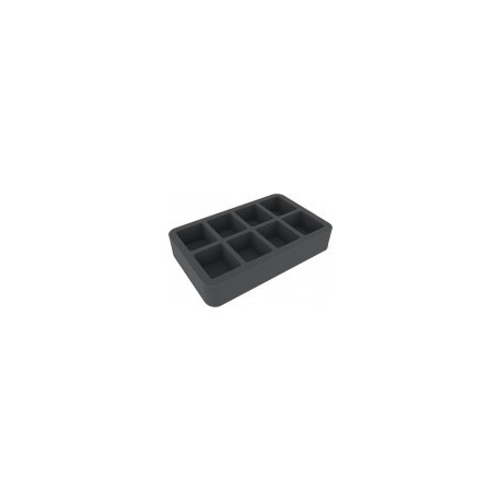 STUFF4GAMES-HSCX050BO 50 mm (2 inch) half-size Figure Foam Tray with base - 8 large cut-outs