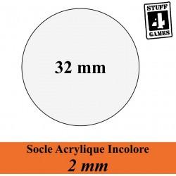 SOCLE CIRCULAIRE 32mm ACRYLIQUE INCOLORE 2mm