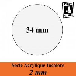 SOCLE CIRCULAIRE 34mm ACRYLIQUE INCOLORE 2mm