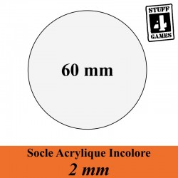 SOCLE CIRCULAIRE 60mm ACRYLIQUE INCOLORE 2mm