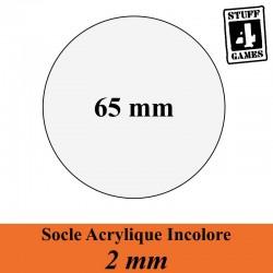 SOCLE CIRCULAIRE 65mm ACRYLIQUE INCOLORE 2mm