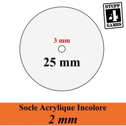 SOCLE CIRCULAIRE 25mm ACRYLIQUE INCOLORE 2mm + Reservation