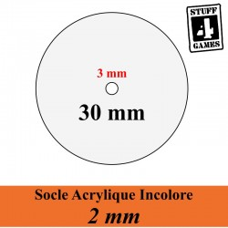 SOCLE CIRCULAIRE 30mm ACRYLIQUE INCOLORE 2mm + Reservation