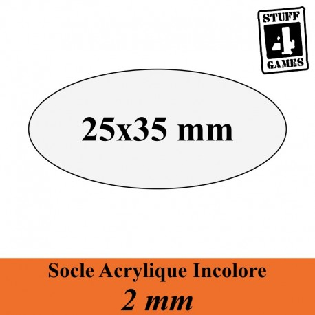 STUFF4GAMESSOCLE OVALE 25x35mm ACRYLIQUE INCOLORE 2mm