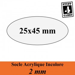 SOCLE OVALE 25x45mm ACRYLIQUE INCOLORE 2mm