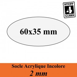 SOCLE OVALE 60x35mm ACRYLIQUE INCOLORE 2mm