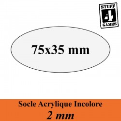 SOCLE OVALE 75x35mm ACRYLIQUE INCOLORE 2mm