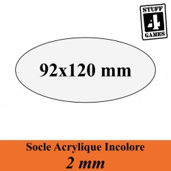 SOCLE OVALE 92x120mm ACRYLIQUE INCOLORE 2mm