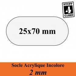 SOCLE OBLONGUE 25x70mm ACRYLIQUE INCOLORE 2mm