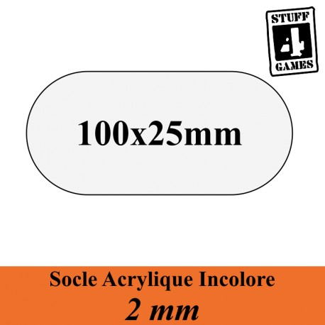 SOCLE OBLONGUE 51x77mm ACRYLIQUE INCOLORE 2mm
