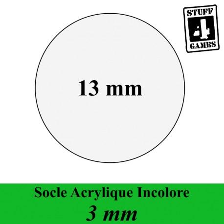 SOCLE CIRCULAIRE 13mm ACRYLIQUE INCOLORE 3mm