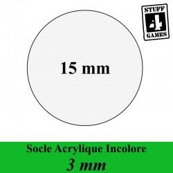 SOCLE CIRCULAIRE 15mm ACRYLIQUE INCOLORE 3mm