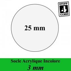 SOCLE CIRCULAIRE 25mm ACRYLIQUE INCOLORE 3mm