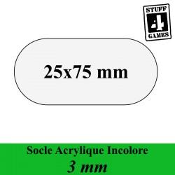 SOCLE OBLONGUE 25x75mm ACRYLIQUE INCOLORE 3mm